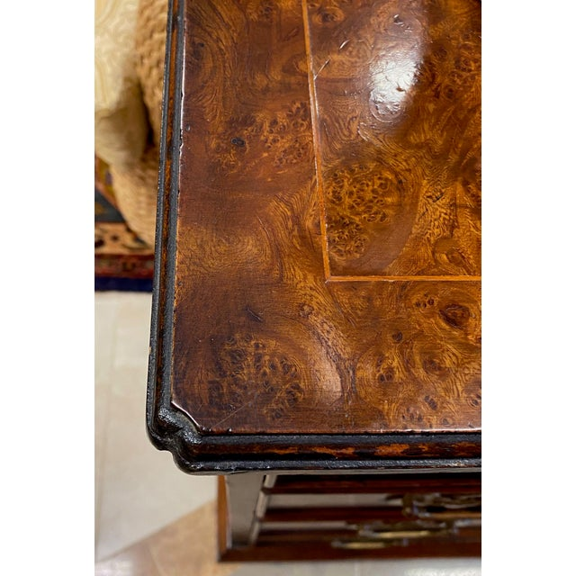 Sienna Burl Veneered All Sides 4-Drawer Chest For Sale - Image 8 of 11