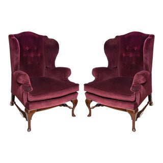 Burgundy Velvet Circa 1940's English Wingback Chairs - A Pair
