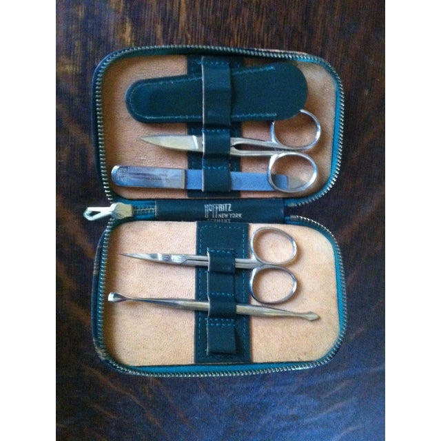 English Traditional Vintage Hoffritz Germany Nyc Gentleman's Leather Grooming Travel Kit For Sale - Image 3 of 9
