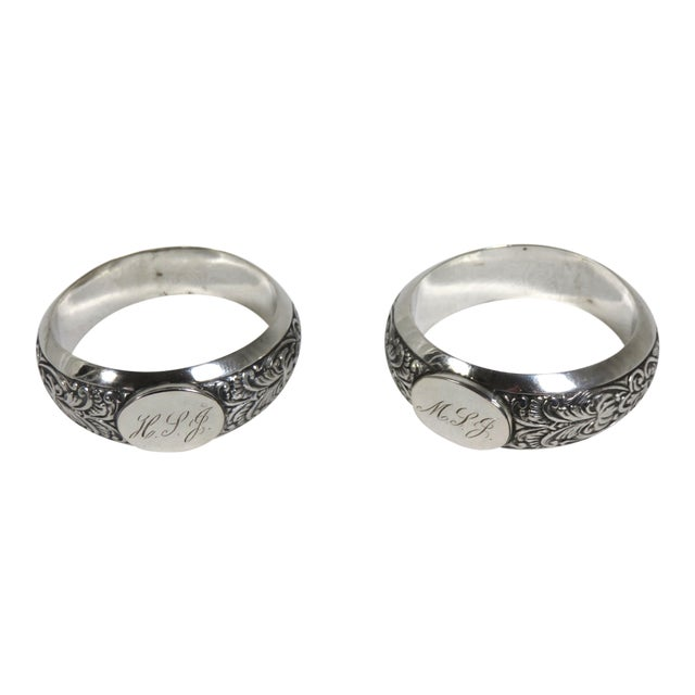 1850s Vintage Coin Silver Napkin Rings - a Pair For Sale