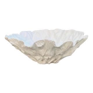 Gumps San Francisco White Ceramic Faux Bois Decorative Bowl For Sale