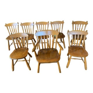 1950s Vintage Winchendon Furniture Solid Maple Dining Chairs - Set of 8 For Sale
