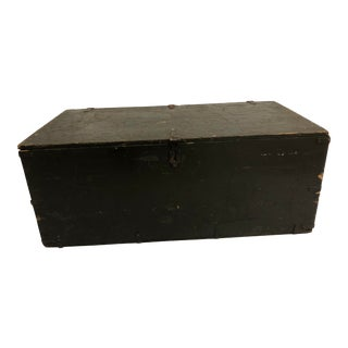Vintage Industrial Drab Green Military Wood Foot Locker Trunk For Sale