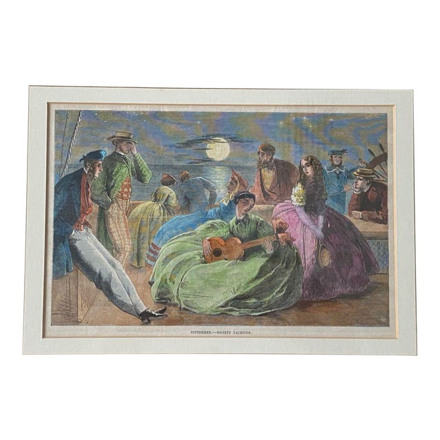 """1861 """"September—Society Yachting"""" Hand Colored Print, Framed For Sale"""
