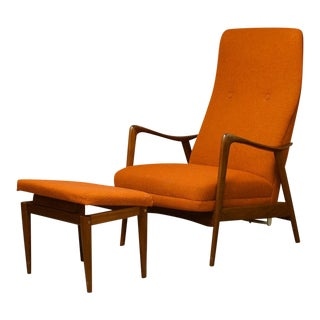 1960s Vintage Ingmar Relling for Westnofa Scandinavian Modern Walnut Recliner Lounge Chair & Ottoman For Sale