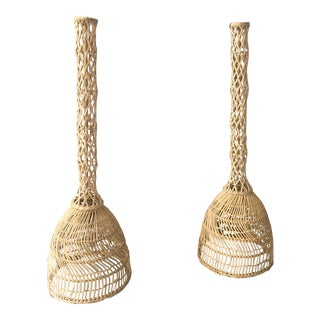 Boho Chic Rattan Pendant Lights - a Pair For Sale