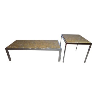 Milo Baughman Chrome Coffee & End Table With Marble Tops, Design Institute of America