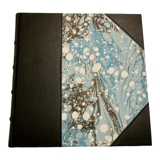 Squared Half Leather Marbled Paper Notebook For Sale