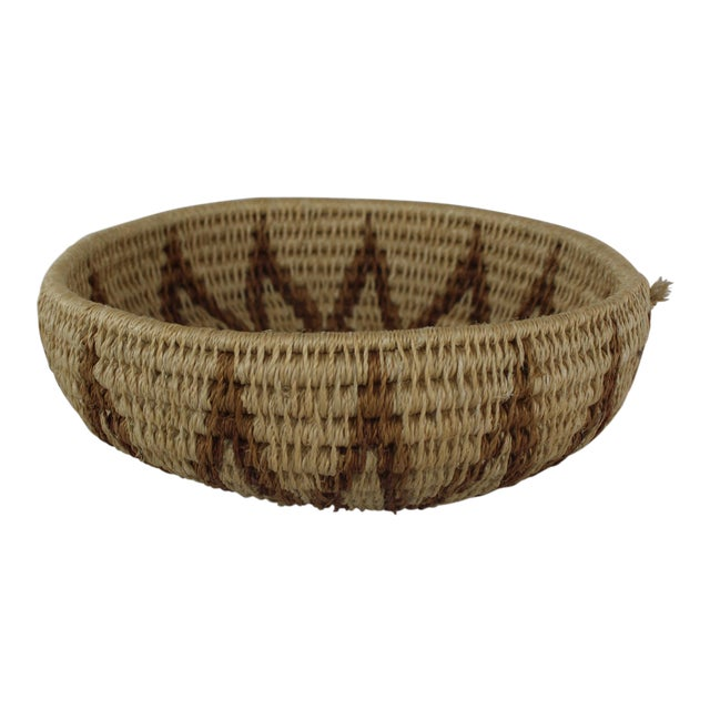 Ghanian Tribal Thick Brown Starburst Basket For Sale