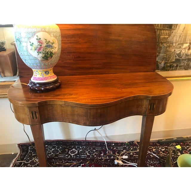 Wood Mahogany Bridge Table With Scalloped Drop Down/Flip Top For Sale - Image 7 of 8
