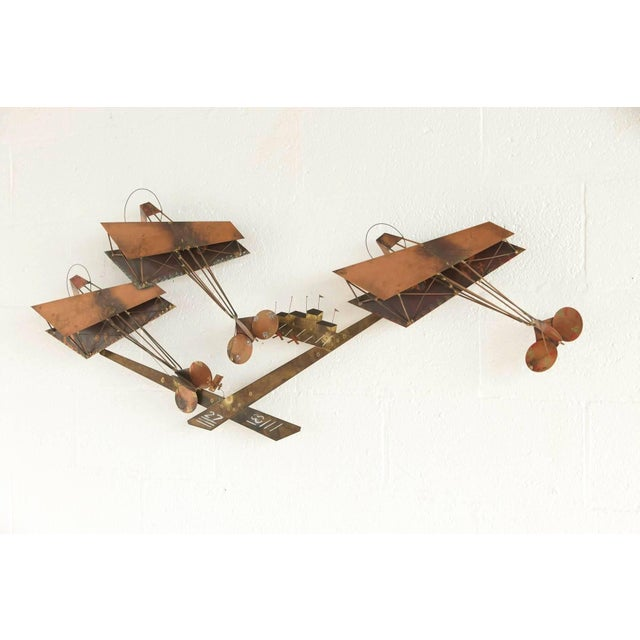 Curtis Jere Brass Wall Sculpture of Airplanes and Airfield, Signed, 1970s For Sale - Image 10 of 11