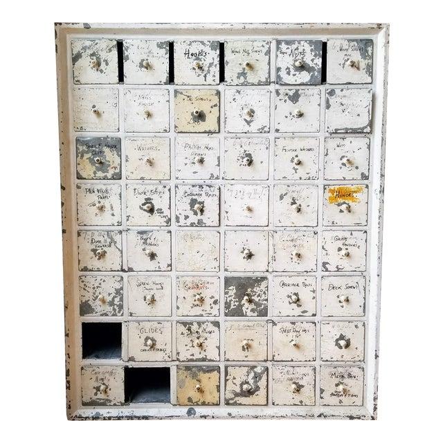 Vintage Industrial Primitive Metal Drawer Organizer Unit For Sale