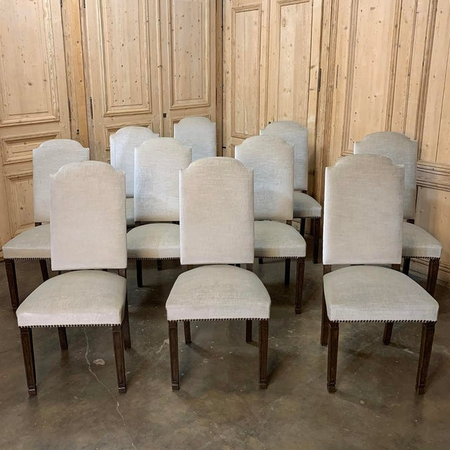 Vintage Mid Century Neoclassical Dining Chairs- Set of 10 For Sale - Image 13 of 13