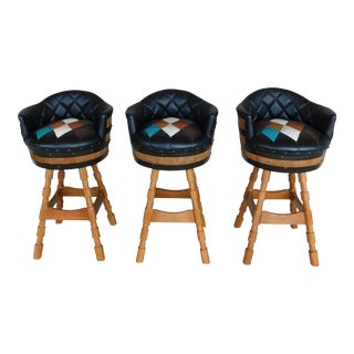 Set of 3 Vintage Whiskey Barrel Back Retro Tufted Oak Base Swivel Bar Stools