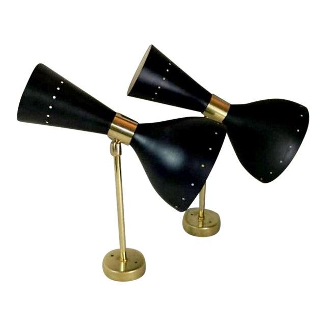 1950's Italian Stilnovo Diabolo Model Style Brass Applique Scones - a Pair For Sale
