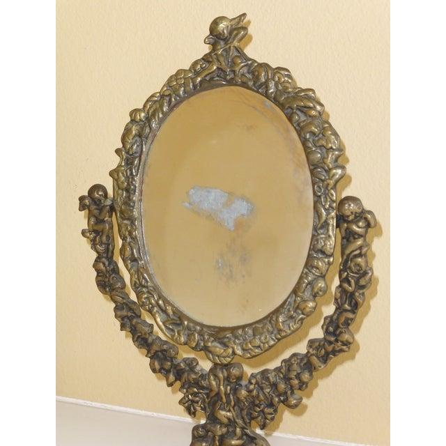 Antique Floral Amp Cherub Shell Design Bronze Vanity Mirror