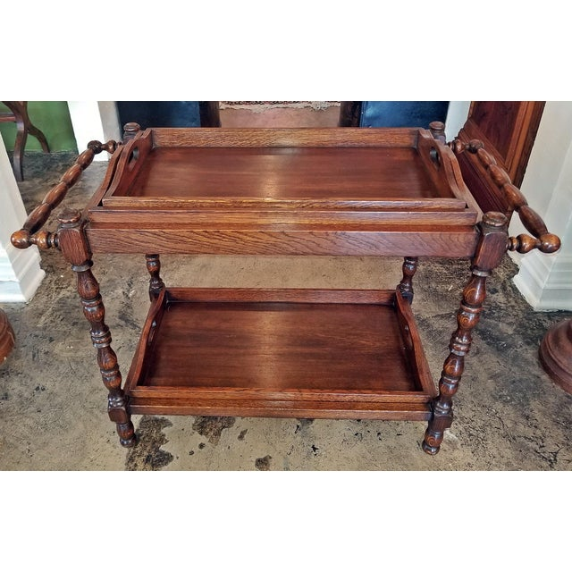 Brown 19c British Provincial Oak Butlers Tray Stand With 3 Trays For Sale - Image 8 of 13