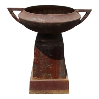 Oversize Iron Garden Urn on Stand For Sale