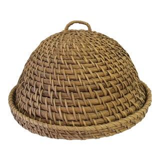 Vintage Rattan Coil Basket Cloche For Sale