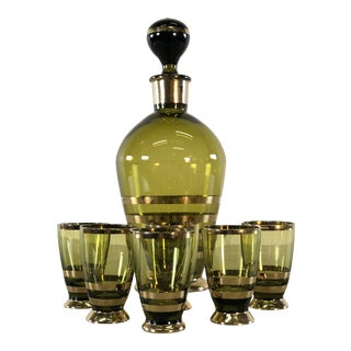 Vintage Bohemian Glass Decanter and Shots, Set of 7 For Sale