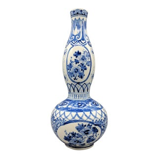 Chinoiserie Blue and White Hand Painted Double Gourd Vase For Sale