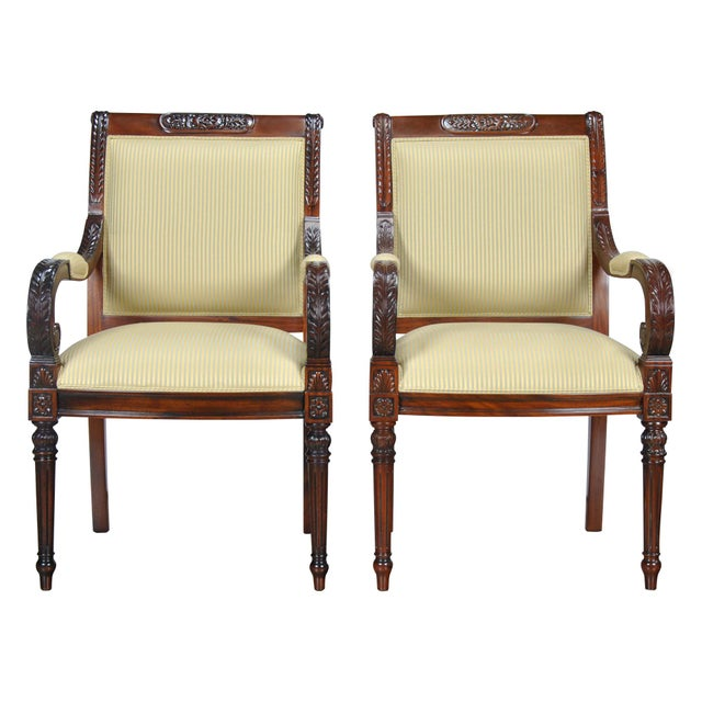Carved Empire Upholstered Arm Chair - a Pair For Sale - Image 13 of 13