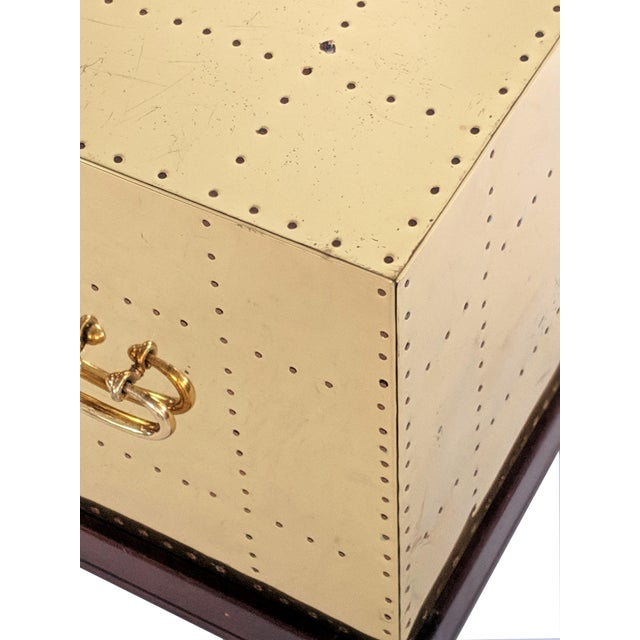 1990s Hollywood Regency Sarreid Brass Studded Cube Side Table For Sale - Image 11 of 13