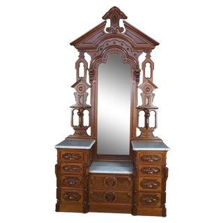 19th Century Antique Victorian Eastlake Walnut Dresser & Mirror For Sale