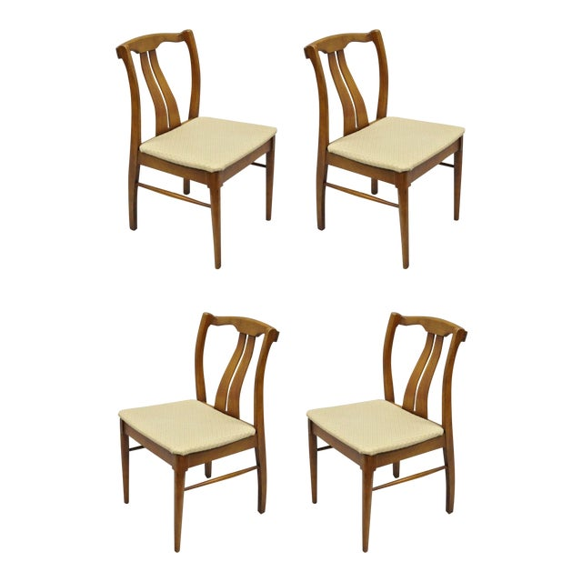 Vintage Mid-Century Modern Curved Back Walnut Dining Chairs - Set of 4 For Sale