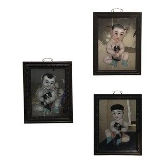 19th Century Chinese Verre Églomisé Portraits of Children Holding Papillons - Set of 3 For Sale