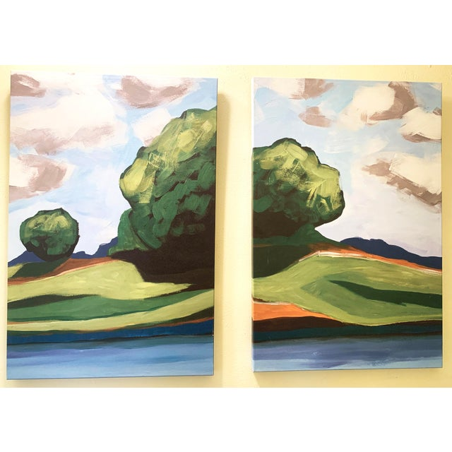 Summer Trees Hand Painted Print on Canvas Wall Art, Set of 2. Perfect for anyone looking to add a touch of summer color to...