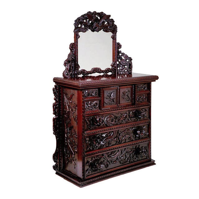 Antique Japanese Carved Chest & Mirror For Sale - Image 9 of 9