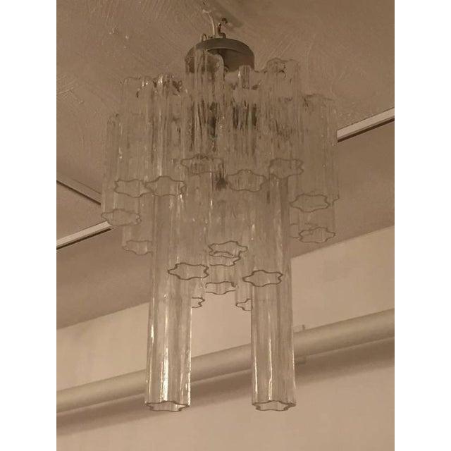 Italian Round Mid-Century Italian Tronchi Glass Chandelier For Sale - Image 3 of 8