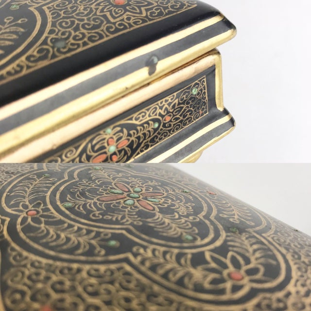 Antique Gilt Lidded Jewelry Box With Gold Scroll Pattern For Sale - Image 9 of 10