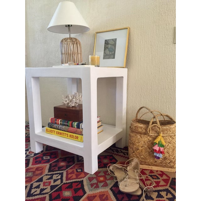 """Our handmade (made to order) white plaster, """"telephone table"""" inspired by Karl Springer is your perfect one nightstand,..."""