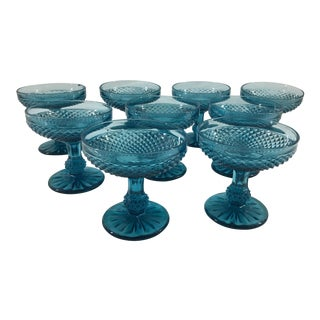 19th Century Blue Baccarat Coupe Glasses - Set of 9 For Sale