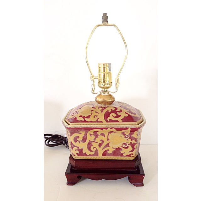 Asian Small Porcelain Asian Table Lamp For Sale - Image 3 of 3