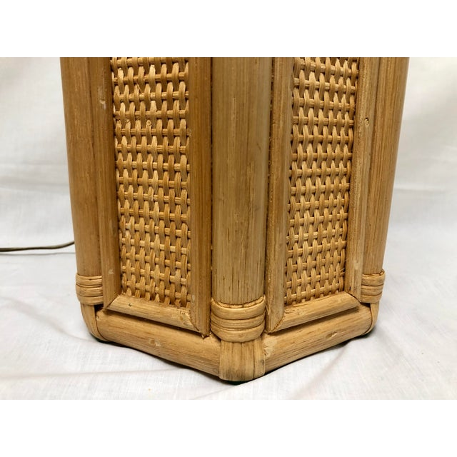 Tan 1960s Vintage Coastal Style Rattan & Wicker Lamps- Set of 2 For Sale - Image 8 of 10
