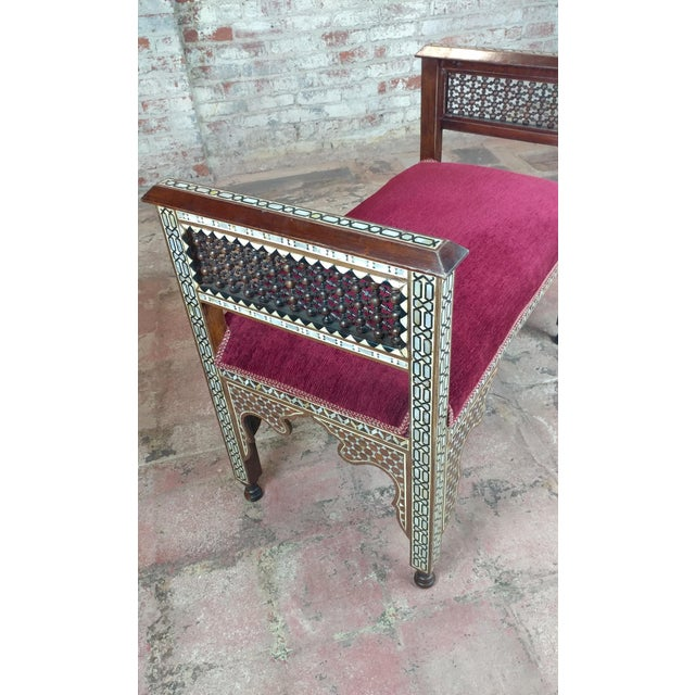 Fabulous Syrian Bench Mother of Pearl Inlaid W/Burgundy Upholstery For Sale - Image 4 of 10