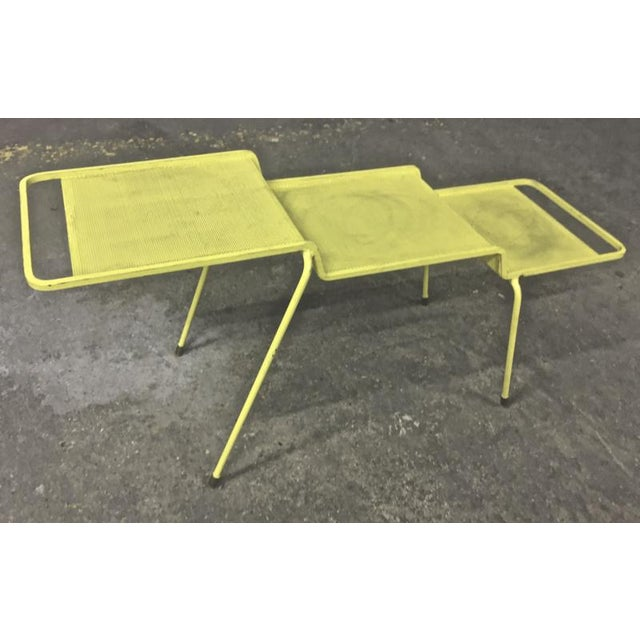 1950s Mathieu Mategot Coffee Table in Yellow Painted Iron and Rigitule For Sale - Image 5 of 8