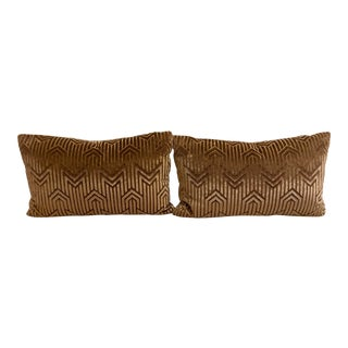 Art Deco Velvet Patterned Lumbar Pillows - A Pair For Sale