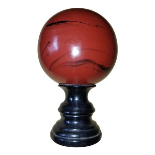 Faux Painted Stone Sphere on an Ebonized Base For Sale