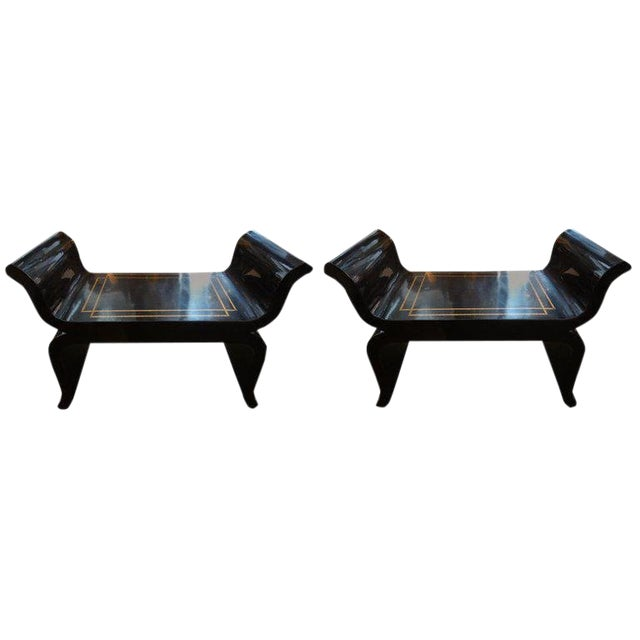 1960's Vintage James Mont Style Hollywood Regency Black Lacquered Benches- A Pair For Sale