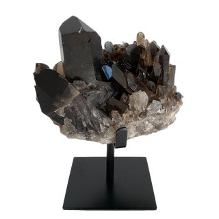 Large Smoky Quartz Crystal Mounted Mineral Specimen For Sale