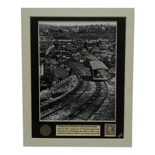 "1919 Vintage Matted ""World's Longest Curved Incline"" Multi-Media Collage"