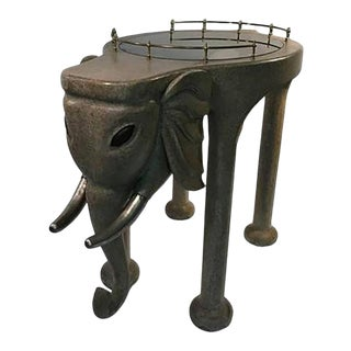 Exquisite and Rare Elephant Bar Cart by Marge Carson For Sale