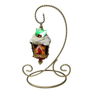 Vintage Mid Century Handmade Jeweled Beaded Lantern Ornament & Display Stand For Sale