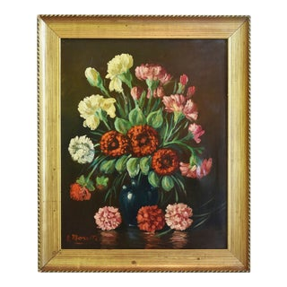 Midcentury Colorful Floral Bouquet Oil Painting by R. Moretti For Sale