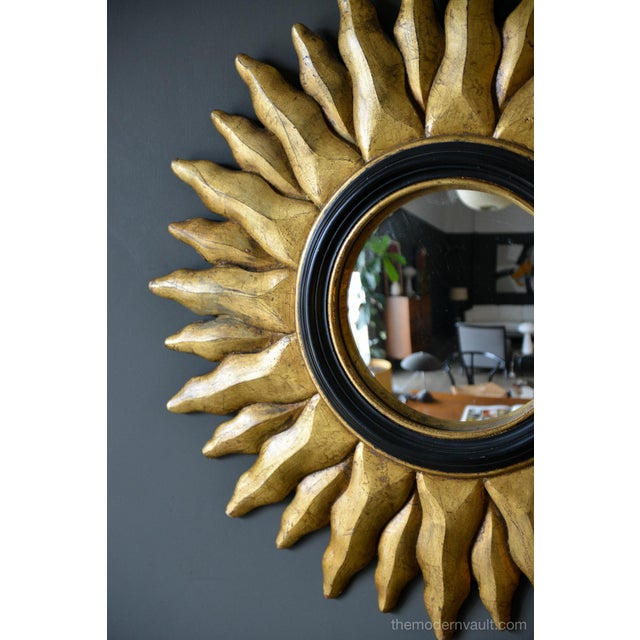 1970s 1970s Vintage Giltwood Convex Sunburst Mirror For Sale - Image 5 of 7