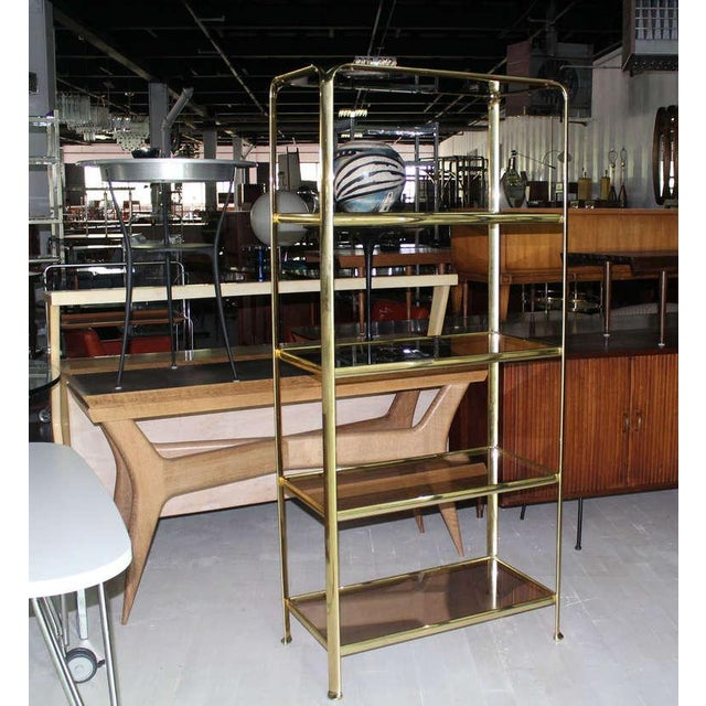 Mid Century Modern Five Tier Brass and Smoked Glass Etagere Shelving Unit For Sale - Image 9 of 10